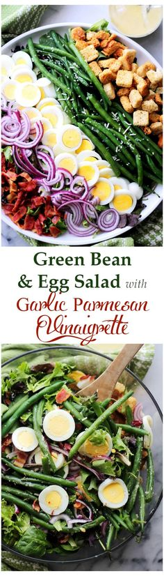 Green Bean and Egg Salad with Garlic Parmesan Vinaigrette - A simple salad of green beans, eggs and bacon tossed with an amazing Garlic Parmesan Vinaigrette. This is Spring in a salad bowl! Great for potlucks, barbecues and get togethers. Get the recipe on diethood.com