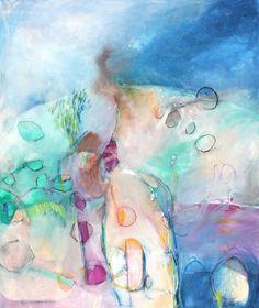 "Original Abstract Painting Modern Art Green Blue ""Summer Twilight"". $145.00, via Etsy."
