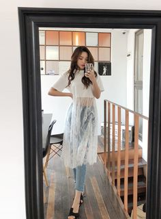 Long Mesh Floral Lace Insert Cropped T-Shirt Lace Dress Extender, Stylish Outfits, Cool Outfits, Dress Outfits, Fashion Dresses, Moda Vintage, Kurta Designs, Fashion Sewing, Korean Outfits
