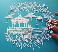 Vintage Seaside Personalised Wedding Hand-cut Papercut