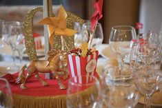 Life Is A Circus Themed Wedding via Kara's Party Ideas KarasPartyIdeas.com Full of printables, recipes, decor, favors, food, games, and more! #circuswedding #circusparty #circuscake #circuspartyideas (20) Circus Wedding, Tent Wedding, Circus Party, Wedding Favors, Circus Decorations, Table Decorations, Berry Wedding, Disney Inspired Wedding, Red Peonies