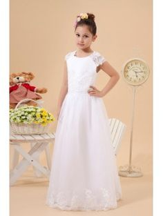 Satin and Organza Jewel Floor Length A-Line Flower Girl Dress with Embroidered
