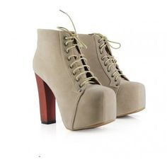 Lace up chunky heel apricot ankle boot