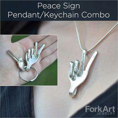 Vrede vork hanger/sleutelhanger combo van ForkArtJewelry op Etsy
