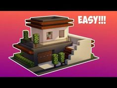Minecraft: How To Build A Small Modern House - Tutorial ( - # Minecraft Mods, Minecraft Small House, Modern Minecraft Houses, Minecraft Plans, Minecraft Houses Blueprints, Amazing Minecraft, Minecraft House Designs, Minecraft Tutorial, Minecraft Architecture