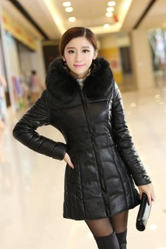 CW12040 Long slim leather coat down cotton coat for women