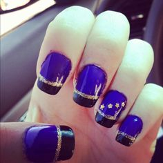 Purple and Black French tip nails
