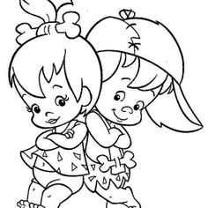 Pebbles and Bamm Bamm Ruble Posing in the Flintstones Coloring Page | Coloring Sun
