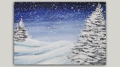 38 ideas for snowy pine tree painting winter scenes Acrylic Painting For Beginners, Acrylic Painting Techniques, Beginner Painting, Acrylic Painting Canvas, Canvas Art, Painting Videos, Pine Tree Painting, Painting Snow, Winter Painting