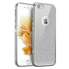 """iPhone 7 Plus Case, PHEZEN [Electroplate Glitter] Slim Lightweight Flexible Bling TPU Silicone Rubber Back Case with Bling Crystal Diamond Bumper Cover for 4.7"""" iPhone 7 Plus (Silver) -- Awesome products selected by Anna Churchill"""