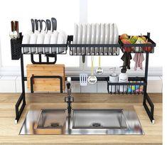 Over Sink Dish Drying Rack - Homewhis Diy Storage Rack, Utensil Storage, Diy Kitchen Storage, Kitchen Shelves, Kitchen Organization, Kitchen Shelf Organizer, Kitchen Cabinetry, Kitchen Drying Rack, Plate Racks In Kitchen