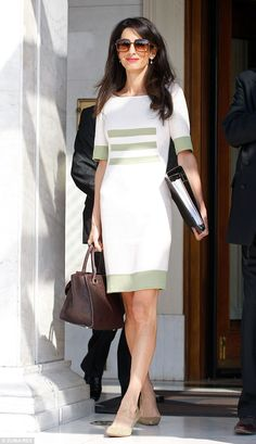 Amal Alamuddin-Clooney in Athens. She's carrying the Ballin 'Amal' bag, named after her.