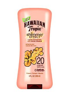 Get your sun protection and shimmer on with this coconut-scented sunscreen lotion. // Shimmer Effect Sunscreen Lotion SPF 20 by Hawaiian Tropic