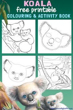 Free Koala Colouring & Activity Book Printable- Colour in, join the dots and make a Koala mask! Art & Craft inspired by the Hello Meerkat! Interactive Picturebook for year olds Color Activities, Craft Activities, Activity Ideas, Toddler Activities, Australian Animals, Australian Art, Koala Craft, Colouring Pages, Free Coloring