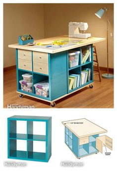 15 Inspiring Sewing Table Designs - The Sewing Loft Diy Craft Table diy craft room table with ikea furniture on a budget Craft Room Storage, Craft Tables With Storage, Craft Room Desk, Craft Room Tables, Storage Ideas, Storage Organization, Diy Storage, Fabric Storage, Cube Storage