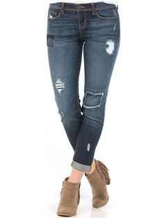 Sneak Peek Ankle Skinny Patchwork Jeans Off The Shoulder Tee, Patchwork Jeans, Short Skirts, Sexy Dresses, Dress Up, Vanity, Skinny Jeans, Ankle, Clothes For Women