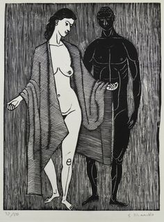 Lot 419A- Gerhard Marcks (1889-1981 German) ''Mann und Madchen II'' (Man and Woman II) 1960 Woodcut Print 12.25''x9.25'' Impression. Pencil signed and numbered 37 of 50 edition lower margin. Total sheet size 18''x13'' with full margins. Hinge mounted top corners. Excellent condition with strong color.