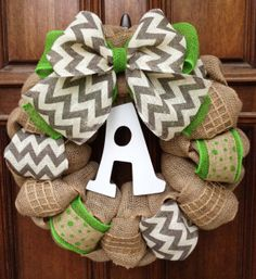 Green and Grey Spring and Summer Burlap Wreath with Double Layer Burlap Bow and Wooden Initial