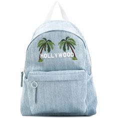 Joshua Sanders palm tree denim backpack (€335) ❤ liked on Polyvore featuring bags, backpacks, blue, knapsack bag, denim rucksack, day pack backpack, rucksack bags and blue denim backpack
