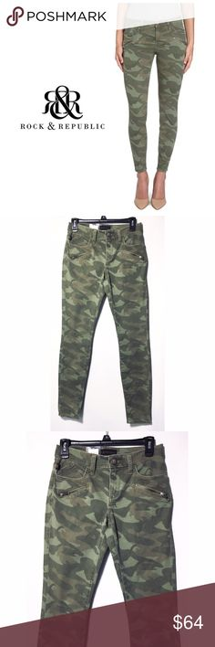 """🆕 Rock & Republic Camo Kashmiere  Skinny Jeans Strut the look in the Camo style skinny jean leggings by R & R. Frayed edges made to look a little worn. Low rise. Ultra slim thru hip & thigh. Super skinny leg opening. Front and back pockets. Zip fly. Decorative front zippers. Stretchy denim construction. Cotton/Spandex. Size: 6 M ( flat across top of pants 14.5"""", and approx. 28"""" Inseam and 5"""" leg opening) Brand new with tags Rock & Republic Jeans Skinny"""