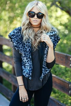 Cara Loren Shop Leopard Hooded Vest