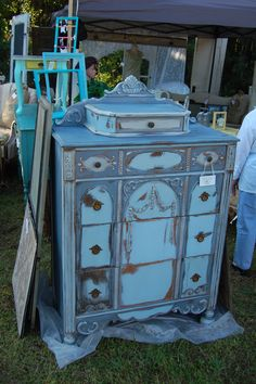 GORGEOUS, VERY OLD Chest of Drawers... Beautiful carved details... Solid wood, HEAVY!  Chalk painted with Annie Sloan's 'Paris Grey' - 'Old Violet' - 'Louis Blue'   So much fun to paint and distress...  Really brought out the character of this old piece.   :)