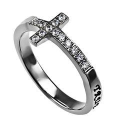 "Sideway Cross ""True Love Waits"" Christian Purity Ring for Girls, 1 Timothy 4:12"