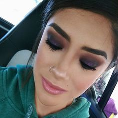'Dark Purple - Music Festival Makeup' look by Alyssa K using Makeup Geek's Corrupt, Drama Queen, Duchess, Hipster and Latte eyeshadows.