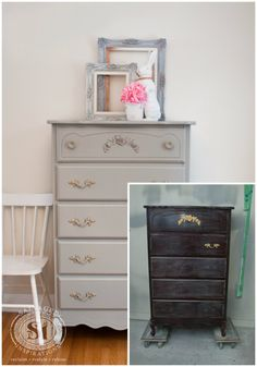 Dressing up a Dresser with Glued On Appliques
