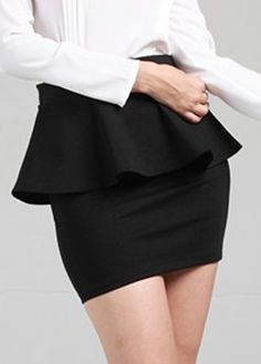 Work Essential Ruffle Decorated Black Skirt for Woman