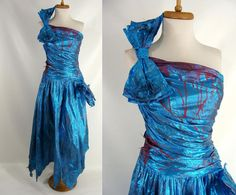 #94.00 Bloody Vintage 80s Blue Metallic FAIRY VAMPIRE One Shoulder Bow Prom Dress Zombie Halloween Costume Size 2 XS by wardrobetheglobe