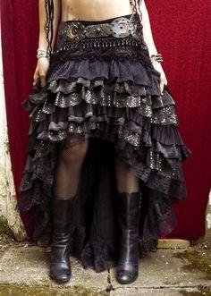 Ruffle Skirt Black Cabaret Vaudeville by darkfusionboutique