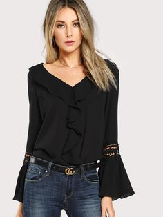 Shein Black Ruffle Neck Lace Insert Pleated Casual Top Women V Neck Flare Sleeve Plain Blouse 2018 Spring Elegant Blouse Black Ruffle, Ruffle Top, Ruffle Blouse, Shein Dress, Pleated Fabric, Spring Shirts, Summer Blouses, Casual Tops For Women, Lace Insert