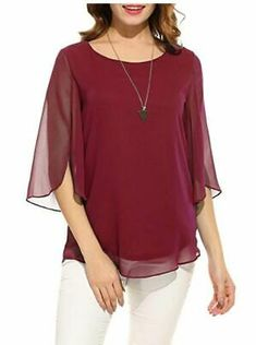Women Plus Size Lace 3//4 Sleeve Tunic Top Blouse Shirt Casual Boho Stretch Fit