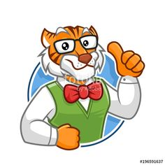 Vector: Geek Tiger mascot character design