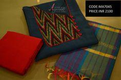 Semi stitched Salwar set (SIZE UPTO 44)(CODE:MA7045)Material - Top -Pure soft chanderi silk bottom-2.25m cotton silk Dupatta- Chanderi silkSTATUS:SOLD  09 March 2017
