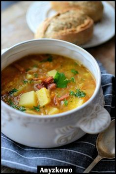 Soup in time for the cold season. Warming and very nutritious. Soup Recipes, Cooking Recipes, Polish Recipes, Polish Food, Homemade Soup, Sauerkraut, I Love Food, Soups And Stews, Food Inspiration