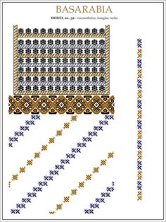 Semne Cusute: iie din BASARABIA - model (32) Embroidery Sampler, Folk Embroidery, Embroidery Patterns, Cross Stitch Patterns, Machine Embroidery, Knitting Patterns, Antique Quilts, Flower Tutorial, Craft Patterns