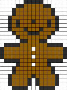 Tiny GingerBread Man Perler Bead Pattern | Bead Sprites | Holidays Fuse Bead Patterns