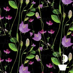 Field Jersey, Black by Selia Organic Cotton, Plants, Projects, Pattern, Black, Florals, Fabrics, Design, Log Projects