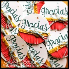 Gracias! spanish language stamps from Stampin' Up. These made great tags for little table gifts at my NSD Crop http://pinkbuckaroodesigns.blogspot.com/2015/05/gracias.html
