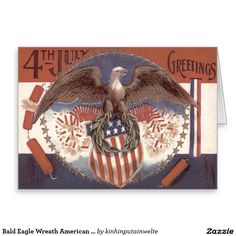Bald Eagle Wreath American Shield Fireworks Greeting Card