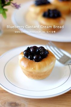 Blueberry Custard Cream Bread Pastry And Bakery, Korean Food, Love Is Sweet, Custard, Bread Baking, Blueberry, Pudding, Dishes, Cream