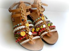 Gladiator Greek leather sandals - Boho decorated sandals - Beach shoes - Spartan sandals - Women summer shoes by dadahandmade on Etsy