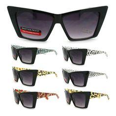 New Womens Leopard Animal Print Temple Squared Cat Eye Retro Fashion Sunglasses #106Shades #CatEye