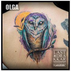 Done by Olga from Last Drakkar tattoo studio  #owl #owltattoo #lastdrakkar #dotwork #dotworktattoo #linework #lineworktattoo #watercolor #watercolour  #tattoo #fomaletattoo #inkedgirl #mandalatattoo #chmielna26 #warszawatatuaż #girslwithtattoos #animaltattoo