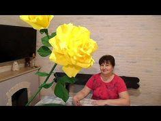 Большая роза из гофрированной бумаги с бутонами на подставке - YouTube