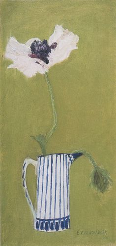 """Oriental Poppy in blue and white jug"" by Elizabeth Blackadder (oil on canvas board) Texture Painting, Painting & Drawing, Floral Illustrations, Illustration Art, Blackadder, People Art, New Art, Flower Art, Poppies"