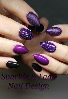 : Elegant purple nails with a handpainted abstract nail - Done by Christine Inga. - - : Elegant purple nails with a handpainted abstract nail - Done by Christine Ingalls of Sparkle and Fade Nail Design Purple Stiletto Nails, Dark Purple Nails, Purple Manicure, Purple Glitter Nails, Purple Acrylic Nails, Sparkle Nails, Dark Nails, Purple Sparkle, Purple Nail Designs