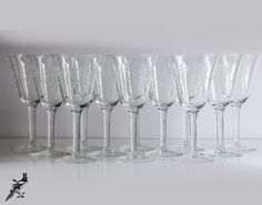 Set of 12 Mid Century Handcut Etched Crystal by TheCordialMagpie